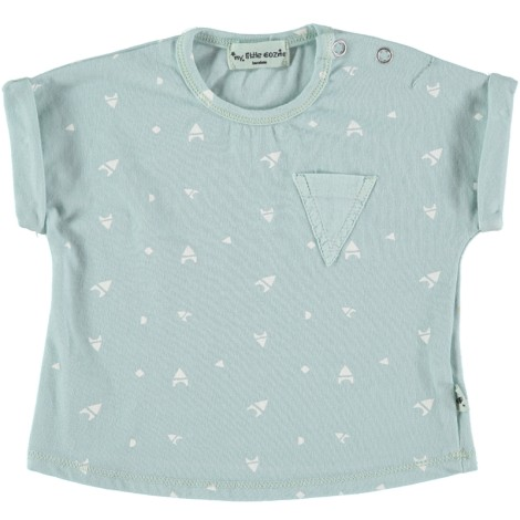 Camiseta bebé M/C bolsillo SERIE BLOCKS color menta
