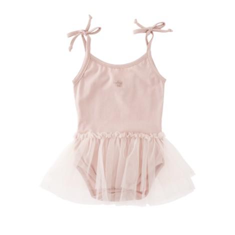 Vestido body bebé con tutu y tirantes en rosa