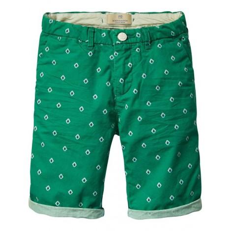 Pantalón short niño verde con miniestampado