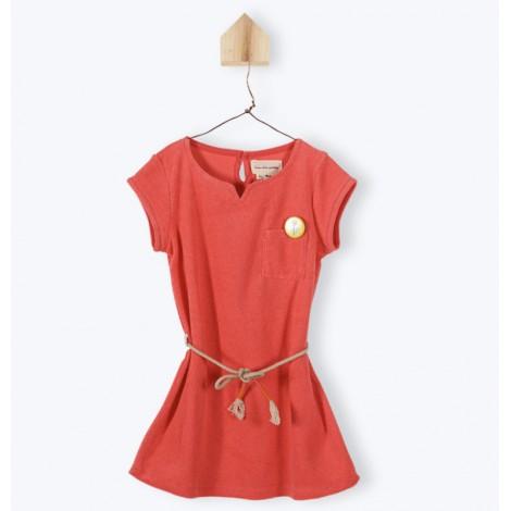 Vestido niña M/C coral LINSEY de toalla