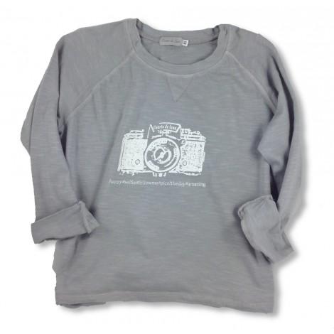 Camiseta infantil M/L RANGLAN CÁMARA gris perla
