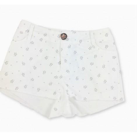 Pantalón short niña FLORES en blanco