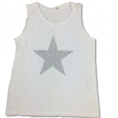 Camiseta tirantes niña ESTRELLA LEO blanca