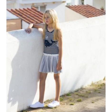Vestido niña rayas azules y BALLENA azul