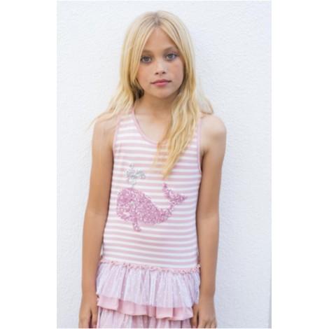 Vestido niña rayas rosa y BALLENA rosa