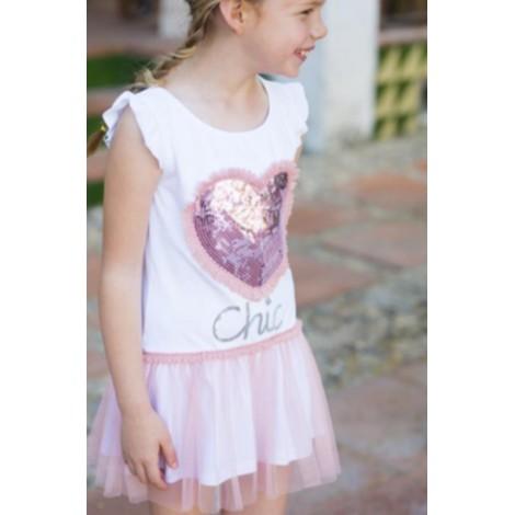 Vestido niña tul con CORAZÓN rosa