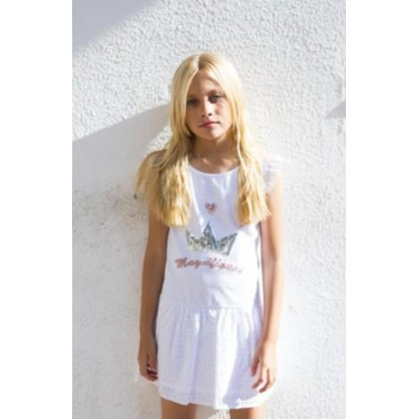 Vestido niña CORONA PLATA blanco