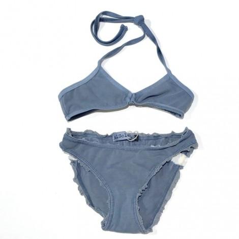Bikini braguita+top niña puntilla azul vintage