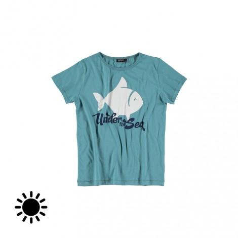 Camiseta infantil FISH SOLAR (AQUA)
