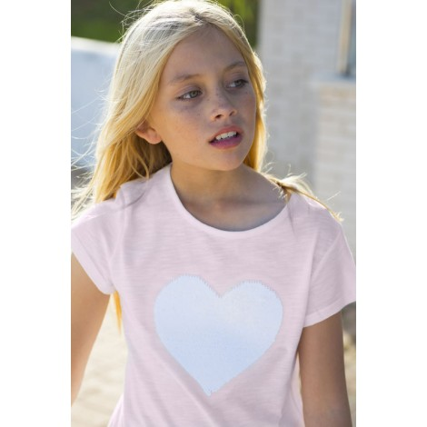 Camiseta niña corazón lentejuelas rosa