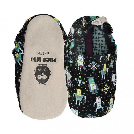 Zapatitos bebé Poco Nido ROBOTS negro mini shoes