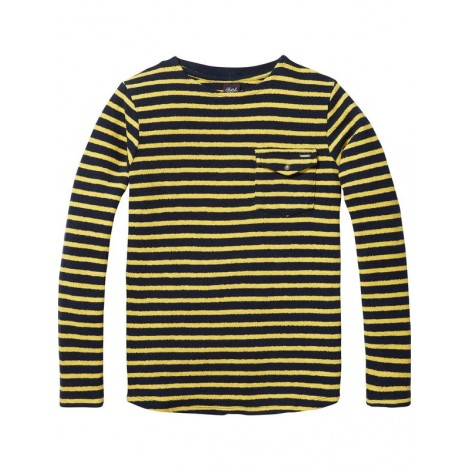 Camiseta niño tejido de rizo de rayas bretonas
