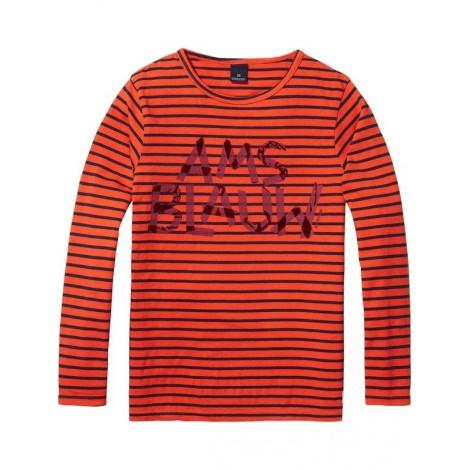 Camiseta niño M/L AMS BLAUW roja rayas azules