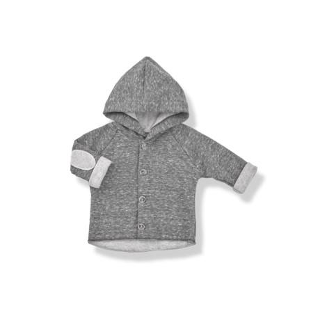 Chaqueta bebé capucha ALAN felpa antracita coderas