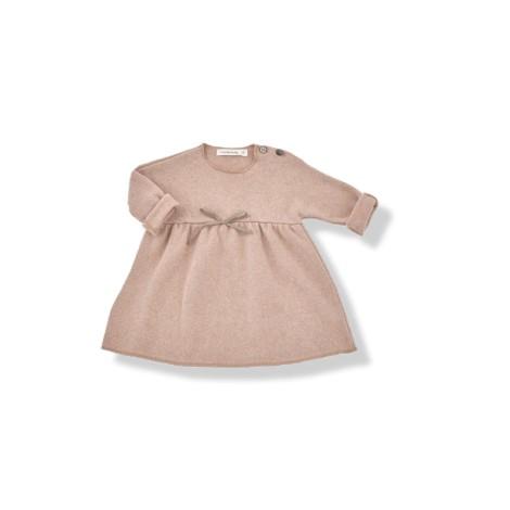 Vestido bebé lazo ESTELA de felpa suave rosa