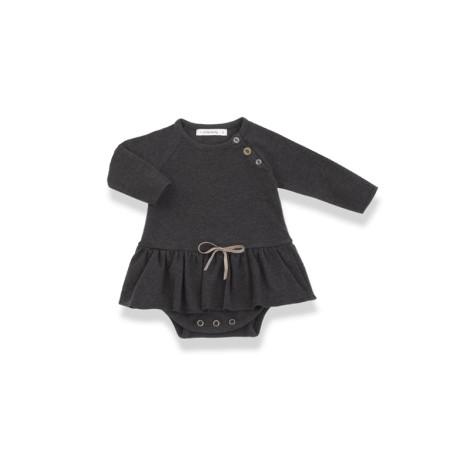 Vestido bebé LIZ BODY antracita lazo