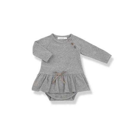 Vestido bebé LIZ BODY gris lazo