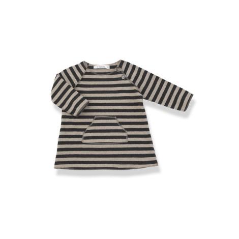 Vestido bebé bolsillo PATI antracita rayas