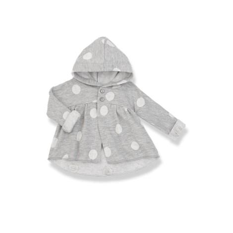 Chaqueta bebé TALLIS gris claro felpa topos