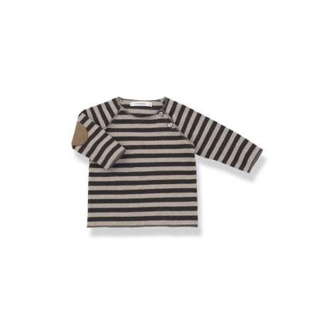 Camiseta bebé TIM antracita coderas rayas y M/L