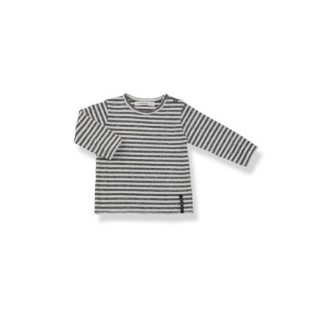 Camiseta bebé m/l YAGO rayas antracita