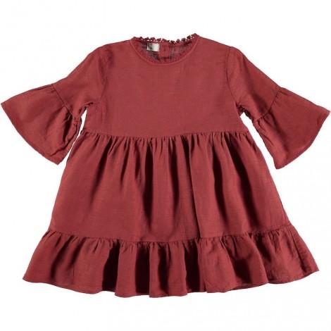 Vestido niña JIMENA algodón rojo vintage