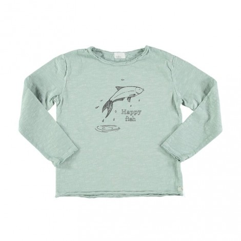 Camiseta infantil ANDY HAPPY FISH gris celadon