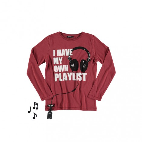 Camiseta infantil sonido PLAYLIST M/L garnet
