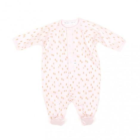 Pelele con pie ALANIS rosa suave 100% algodón