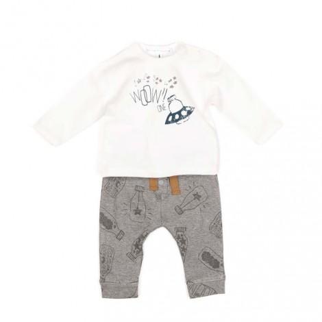 Conjunto bebé APOLO 11 camiseta y pantalón milk