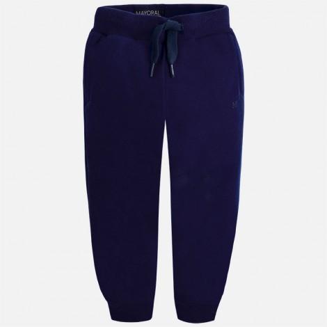 Pantalón felpa niño básico puños color Marino