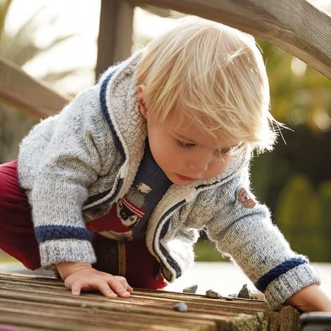 Canguro tricot bebé forrado color Nata-azul
