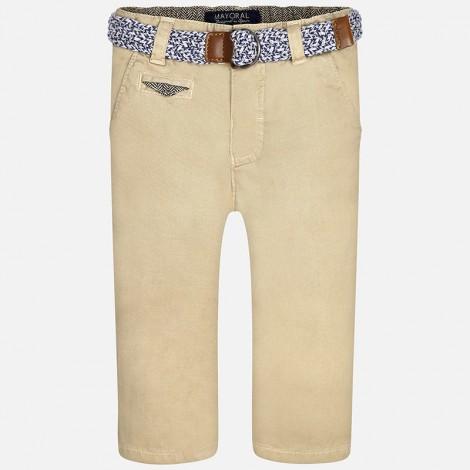 Pantalón chino bebé con cinturón color Beige