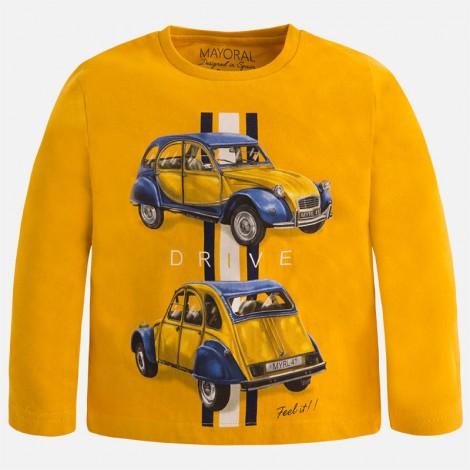 Camiseta niño m/l serigrafia coche color Curcuma