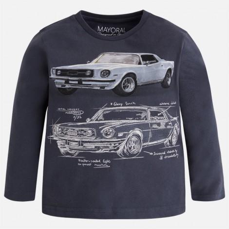 Camiseta niño m/l boceto coche color Pizarra
