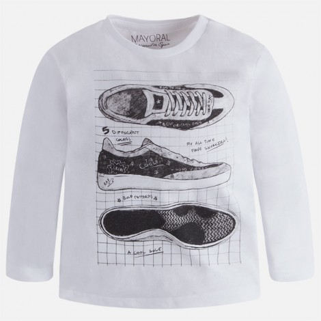 Camiseta infantil m/l zapatillas color Blanco