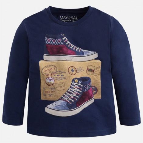 Camiseta niño m/l zapatillas color Azul
