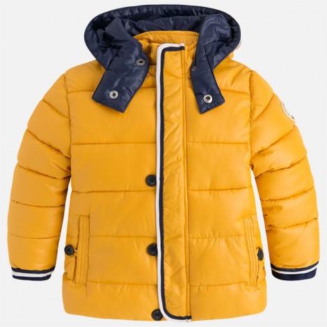 Abrigo chaquetón con capucha para niño color Curcuma
