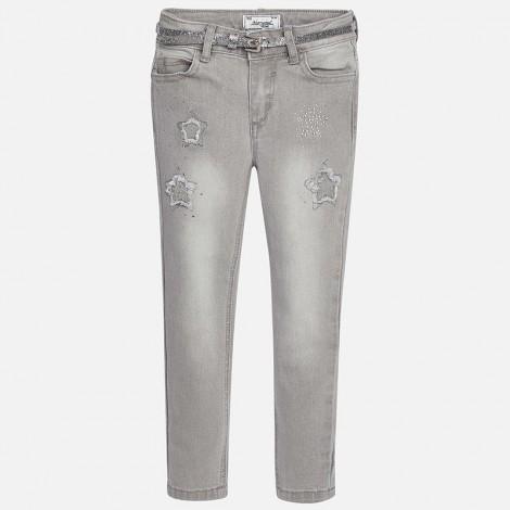 Pantalón largo niña estrellas color Gris claro