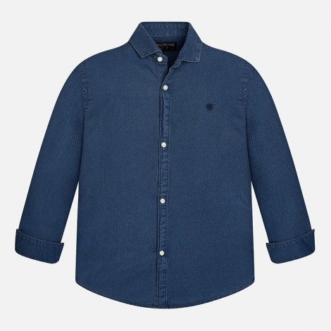 Camisa niño m/l espiga color Denim