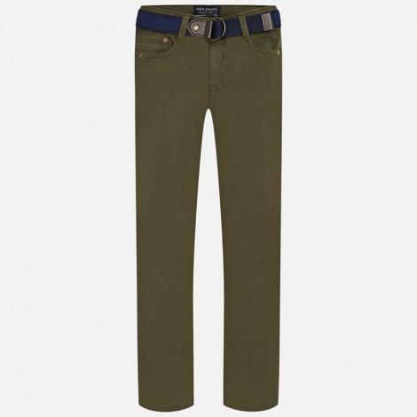 Pantalón niño super slim cinturón color Cipres