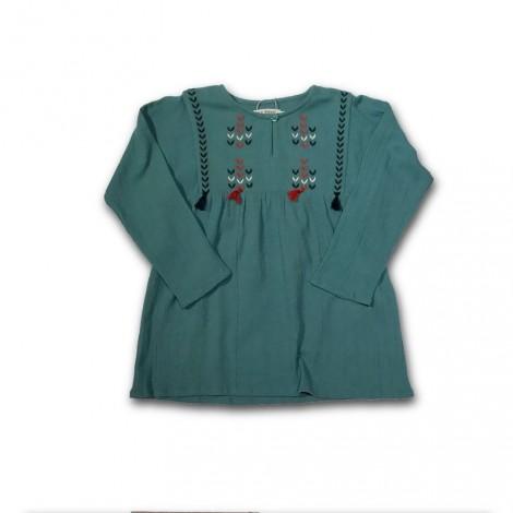 Camisa túnica niña BORDADO POMPONES