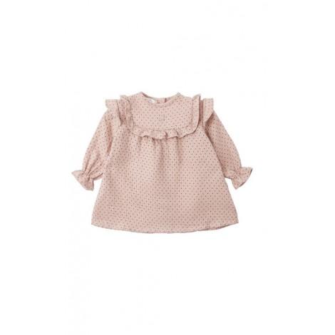 Vestido bebé DOTS SHORT rosa malva