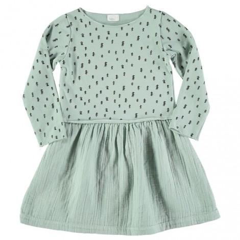 Vestido niña EVE verde agua felpa fina algodón