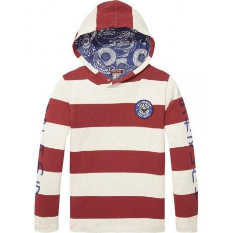 Camiseta niño capucha rayas granate
