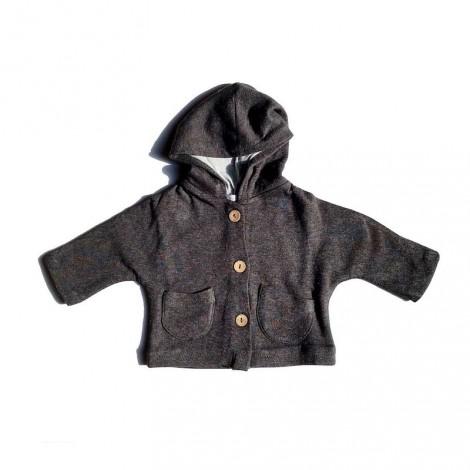 Chaqueta bebé capucha felpa BLACK