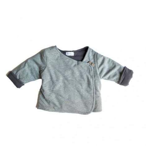Chaqueta bebé acolchada gris y negra