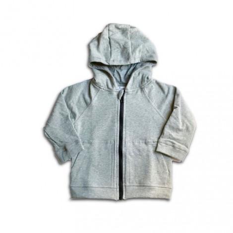 Chaqueta bebé felpa gris capucha y cremallera