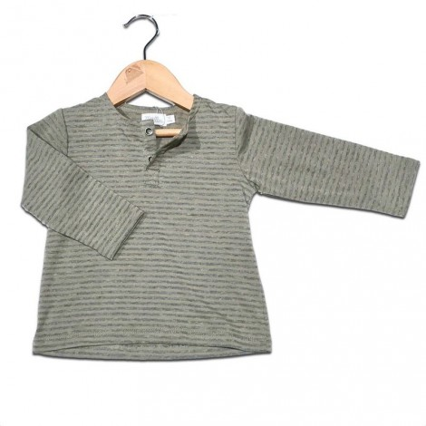 Camiseta bebé M/L beige rayas gris