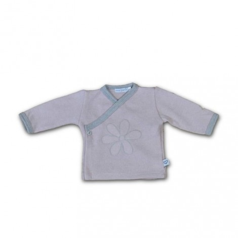 Camiseta bebé jubón cruzada flor rosa